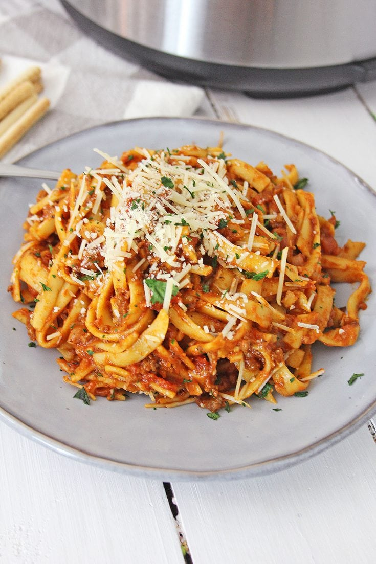 Easy Instant Pot Fettuccini Bolognese Recipe