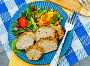 Here is a super easy and yummy main dish that the family will love--air fryer pork tenderloin. Served with your favorite side, it's a great family recipe!