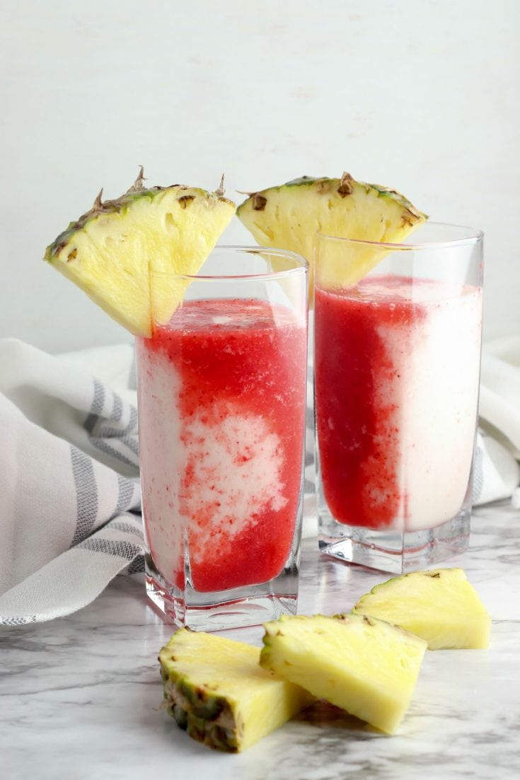 Strawberry Pina Colada Lava Flow Mocktail