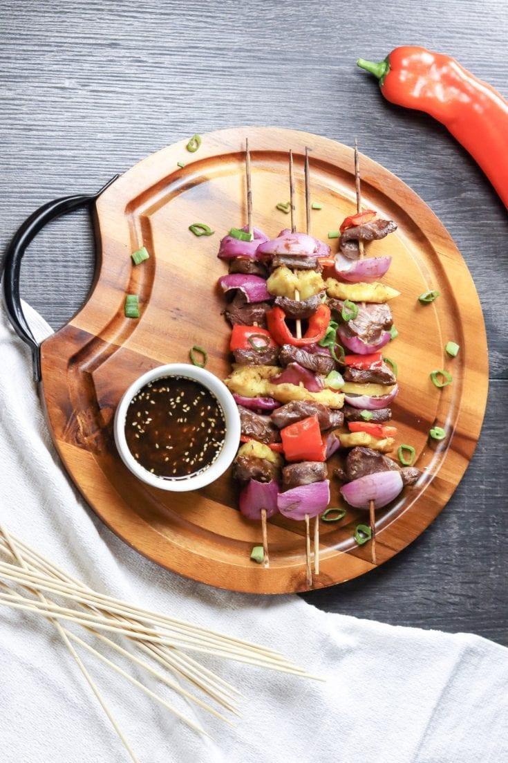 Grilled Steak Kabobs with Homemade Teriyaki Sauce