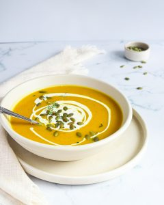 Roasted Pumpkin Soup in white bowl