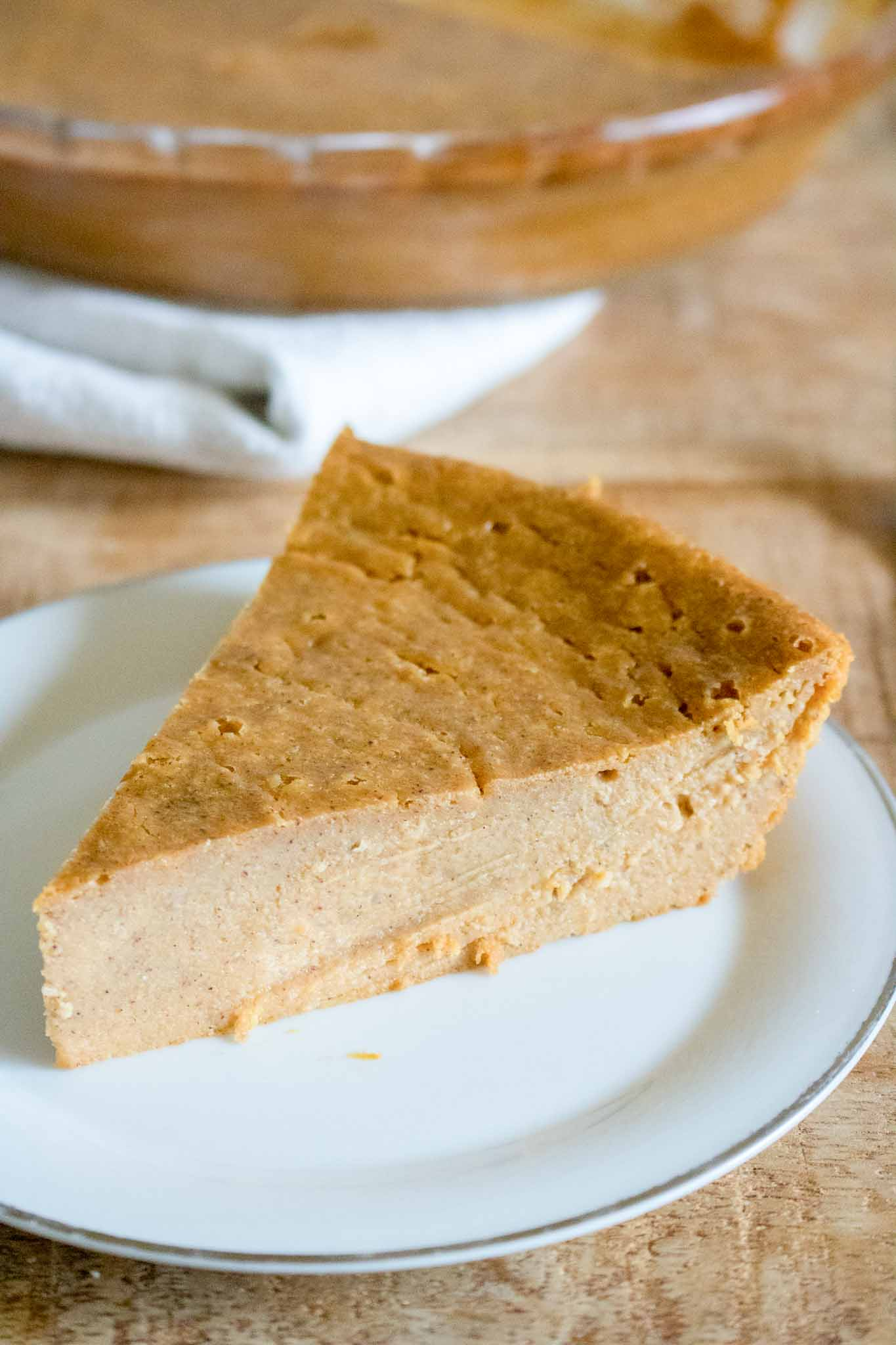 crustless pumpkin pie on plate