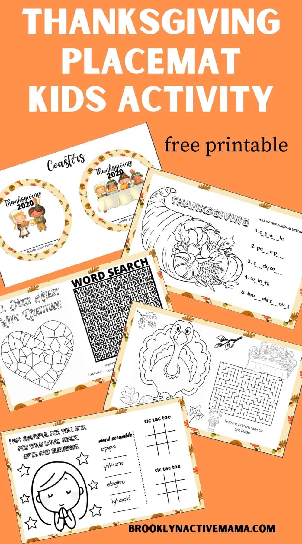 thanksgiving Placemats kids activity