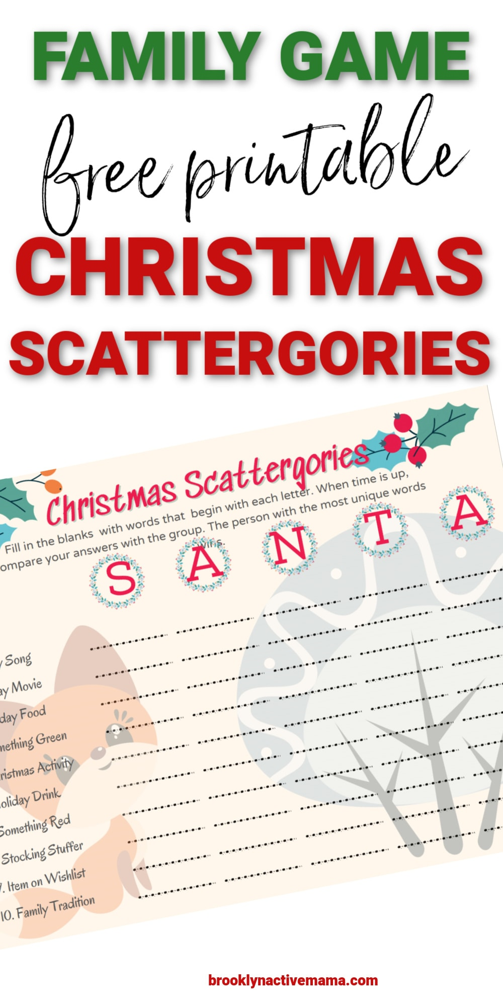Christmas Scattergories Family Game Free Printable