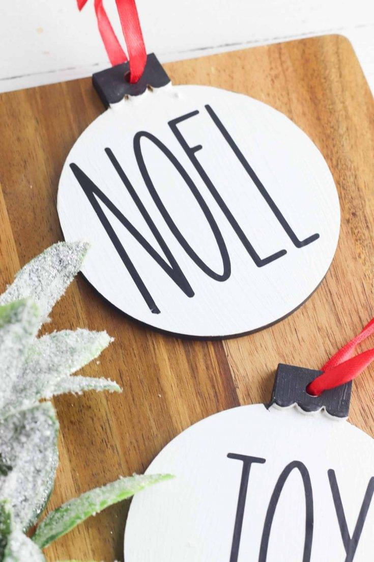 Rae Dunn Inspired Christmas Ornaments - Cricut Craft