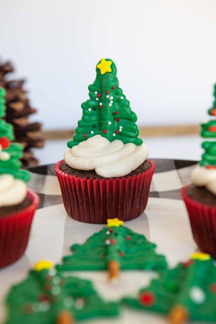 Christmas Tree Chocolate Cupcakes - Using Cake Mix!
