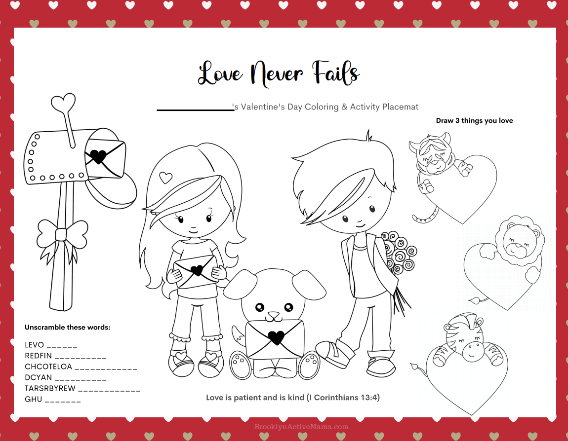 Valentine's Day Placemats Coloring Page Word Scramble