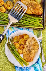 Italian Chicken Sheetpan Dinner with extra asparagus