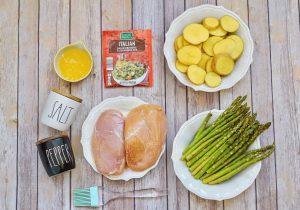 Italian Chicken Sheetpan Dinner all ingredients for recipe