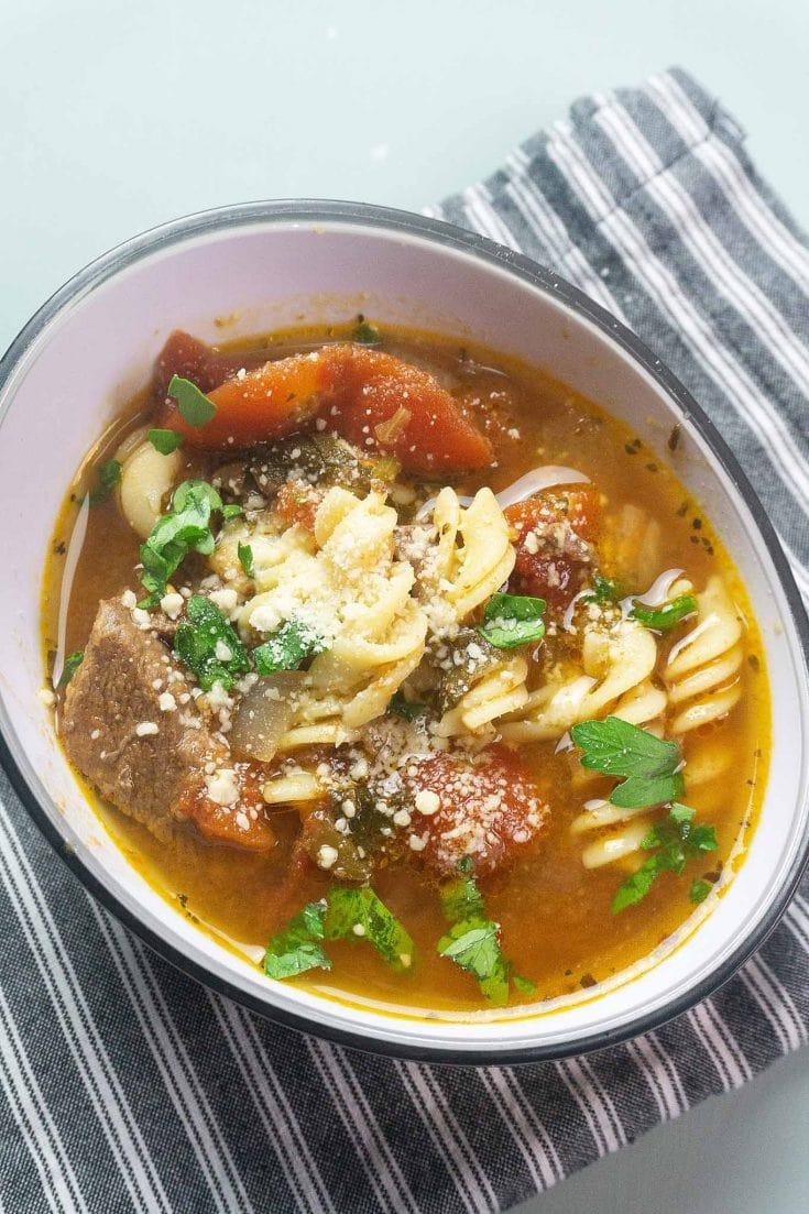 Instant Pot Beef Tomato Pasta Soup