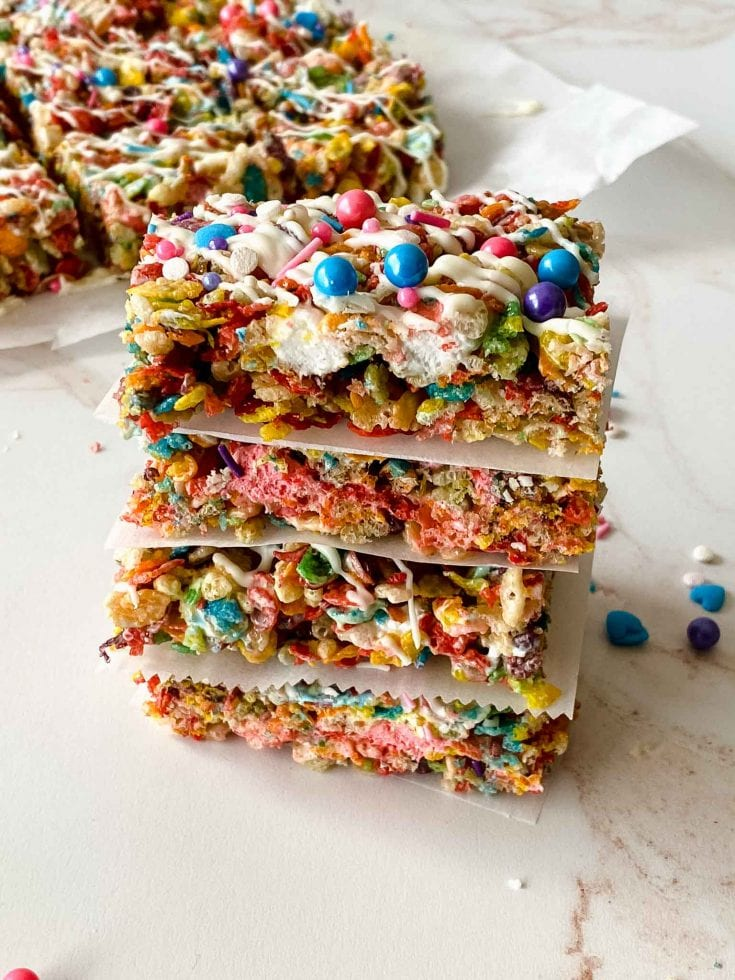 Rainbow Rice Krispy Treats - Yummy Kids Snacks