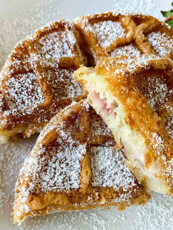 Strawberry Cheesecake Stuffed Waffles