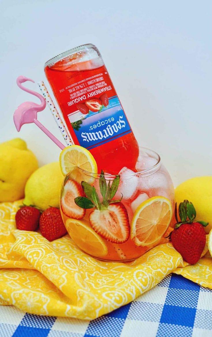 Strawberry Lemonade Fish Bowl Drink Cocktail