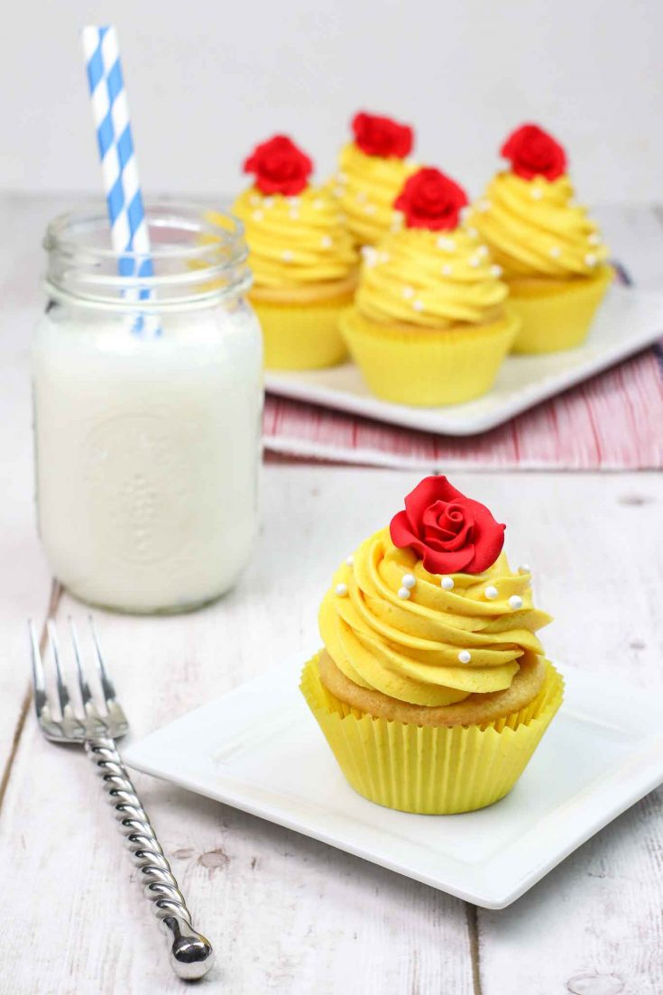 Belle Themed Beauty And The Beast Cupcakes