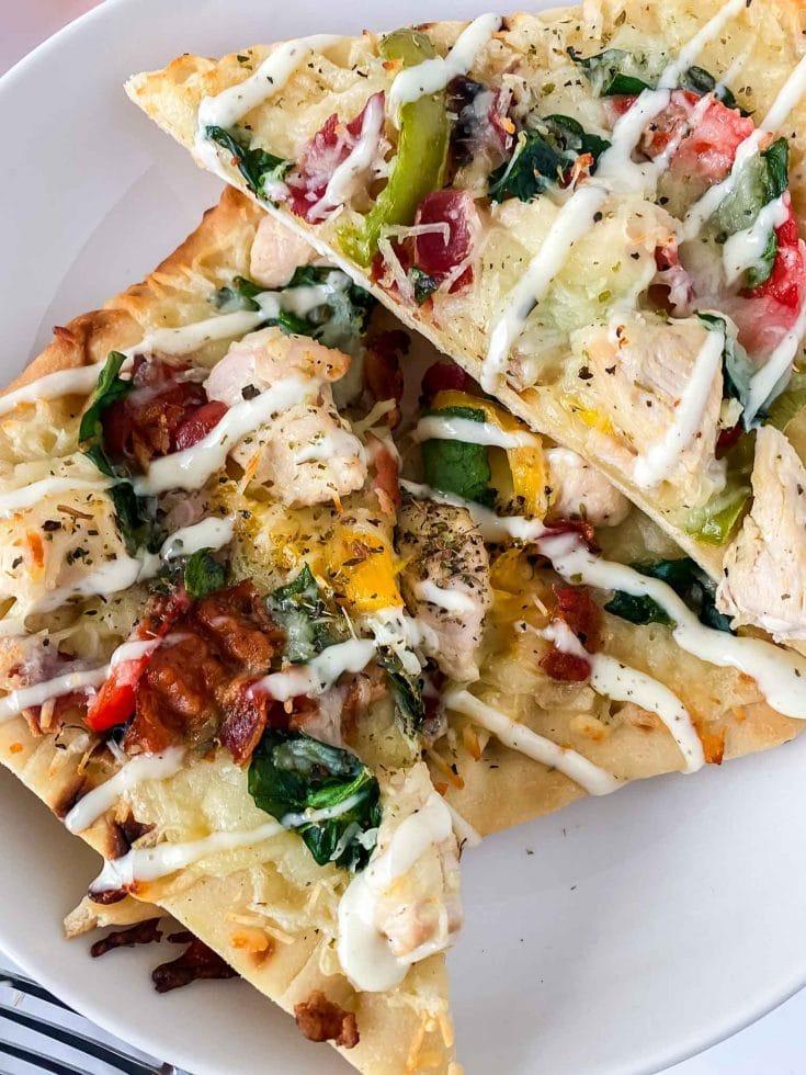 Easy Chicken Bacon Ranch Flatbread Pizza