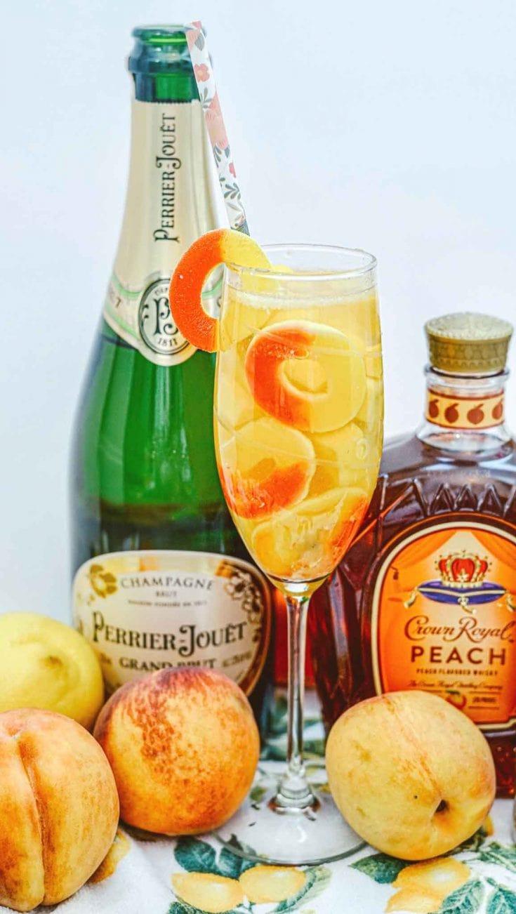 Sparkling Peach Cocktail with Crown Royal Peach