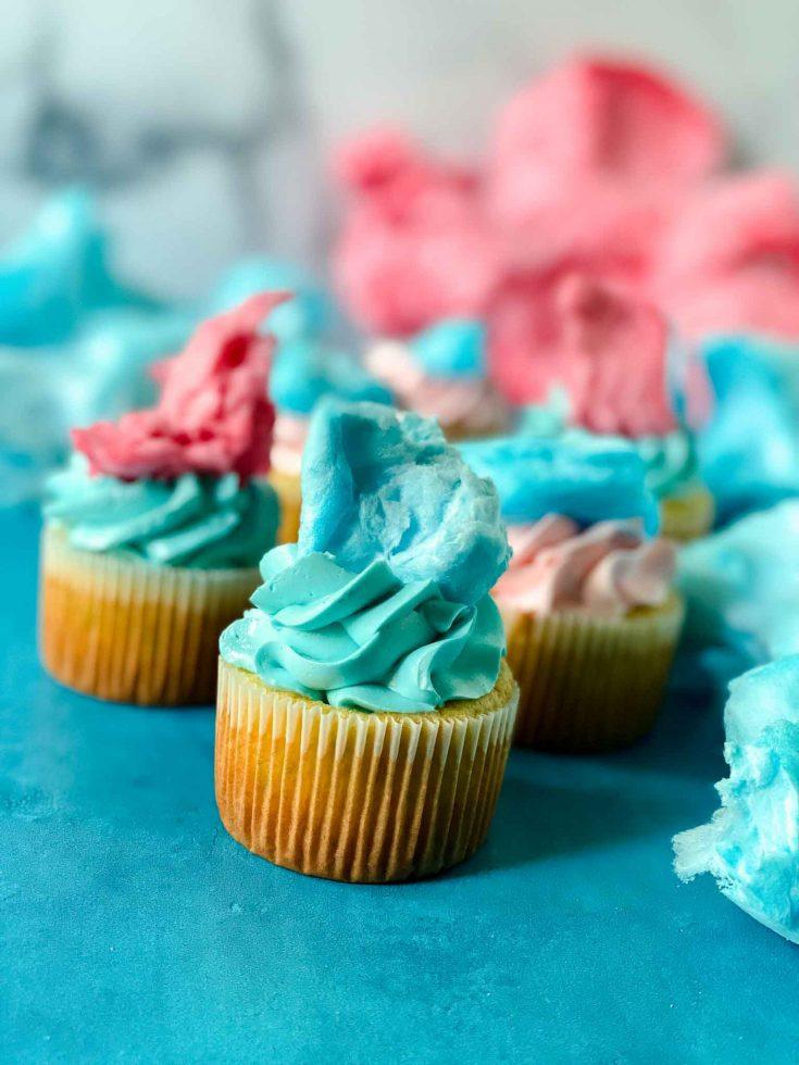 Super Fun Colorful Cotton Candy Cupcakes
