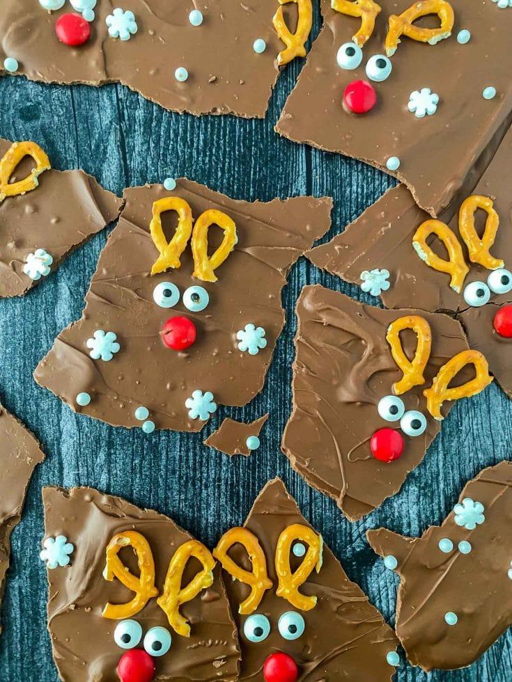 Adorable Christmas Reindeer Chocolate Bark