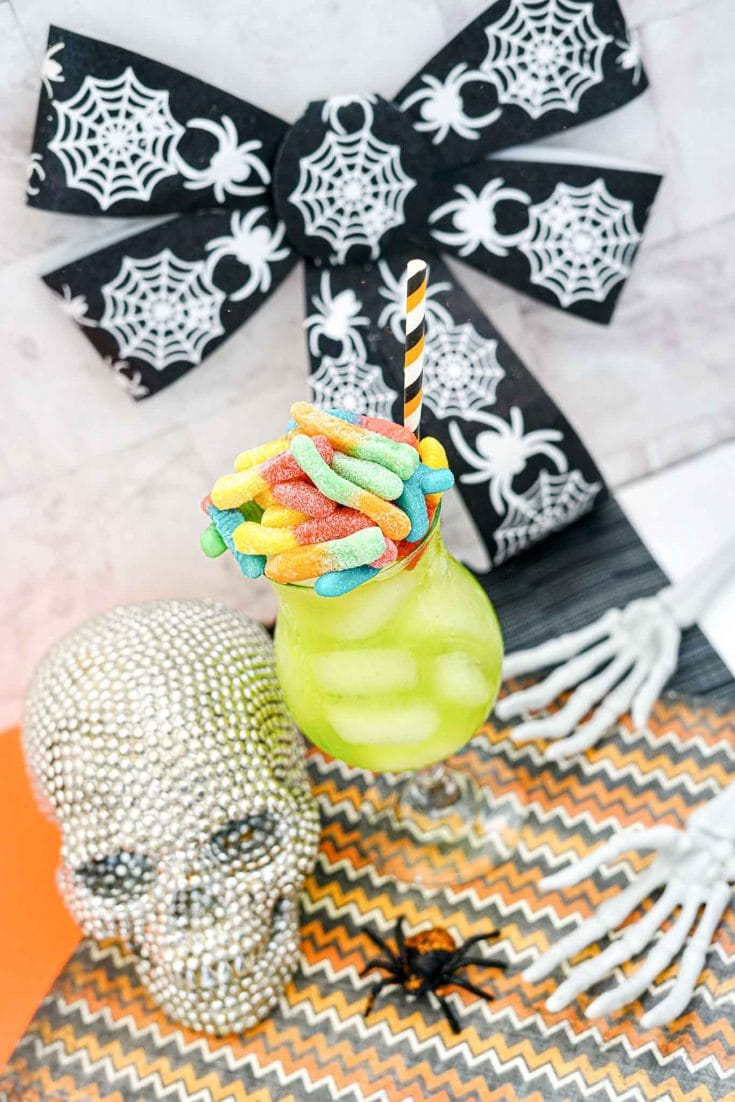Easy Lime Green Rum Halloween Cocktail Drink